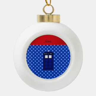 Personalized name police box blue polka dots ornament