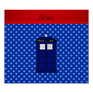 Personalized name police box blue polka dots poster