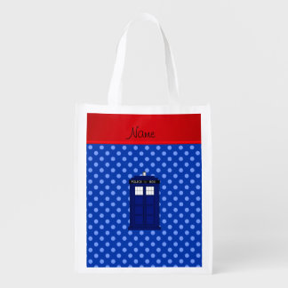 Personalized name police box blue polka dots grocery bags