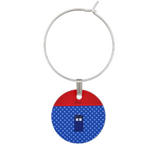Personalized name police box blue polka dots wine glass charms