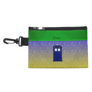 Personalized name police box blue yellow stars accessory bag