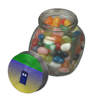 Personalized name police box blue yellow stars glass candy jar