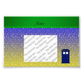 Personalized name police box blue yellow stars photo print
