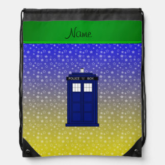 Personalized name police box blue yellow stars drawstring backpack