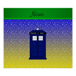 Personalized name police box blue yellow stars posters