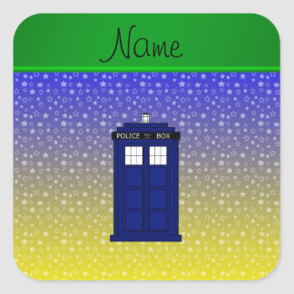 Personalized name police box blue yellow stars square sticker