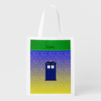 Personalized name police box blue yellow stars grocery bag