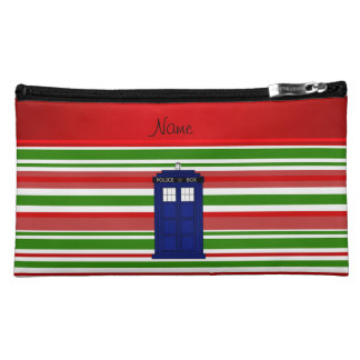 Personalized name police box red green stripes makeup bags