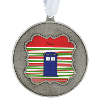 Personalized name police box red green stripes scalloped pewter ornament