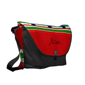 Personalized name police box red green stripes courier bag