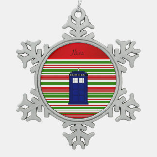 Personalized name police box red green stripes ornament