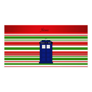 Personalized name police box red green stripes photo card