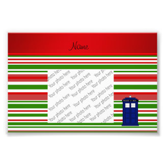 Personalized name police box red green stripes art photo