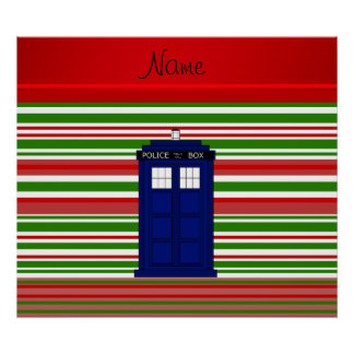 Personalized name police box red green stripes poster