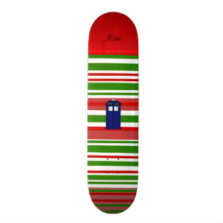 Personalized name police box red green stripes skateboard
