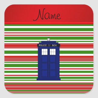 Personalized name police box red green stripes square sticker