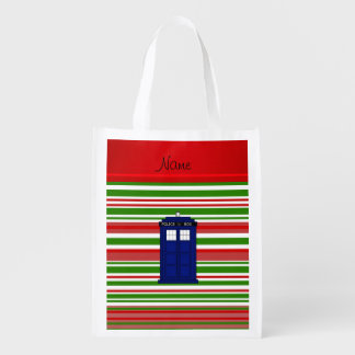 Personalized name police box red green stripes reusable grocery bag