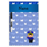 Personalized name policeman blue trains dry erase whiteboards