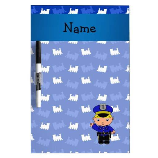 Personalized name policeman blue trains Dry-Erase boards