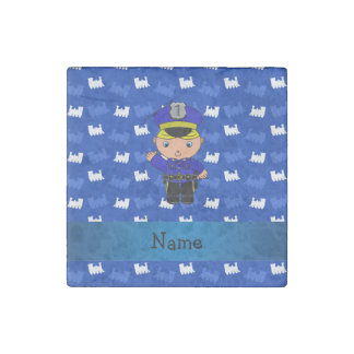 Personalized name policeman blue trains stone magnet