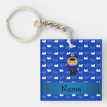 Personalized name policeman blue trains keychain