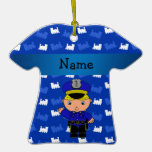 Personalized name policeman blue trains ornament