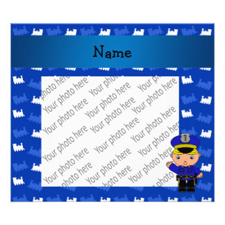 Personalized name policeman blue trains photo print