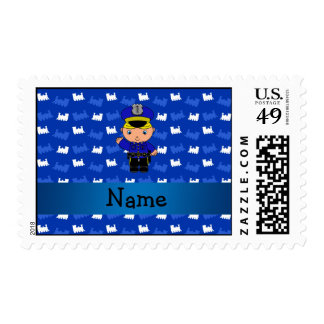 Personalized name policeman blue trains postage stamp