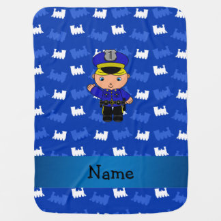 Personalized name policeman blue trains swaddle blankets