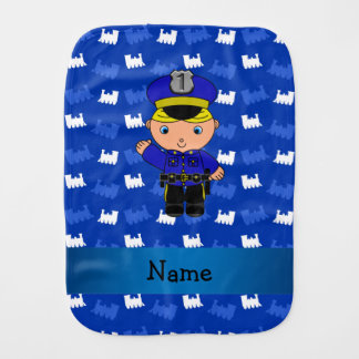 Personalized name policeman blue trains baby burp cloth