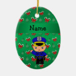 Personalized name policeman green candy canes bows christmas tree ornament