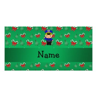 Personalized name policeman green candy canes bows photo card