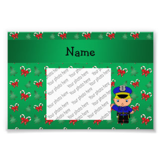 Personalized name policeman green candy canes bows photo print