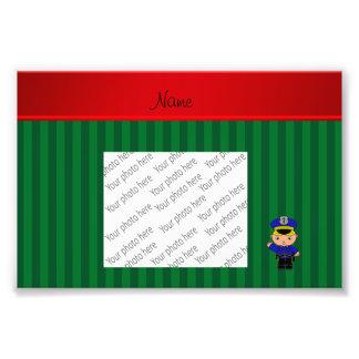 Personalized name policeman green stripes photo print