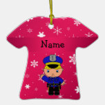 Personalized name policeman pink snowflakes ornament