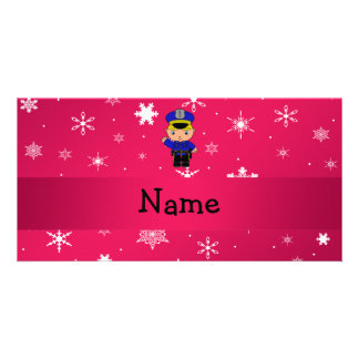 Personalized name policeman pink snowflakes photo card