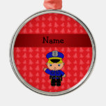 Personalized name policeman red christmas trees christmas tree ornaments