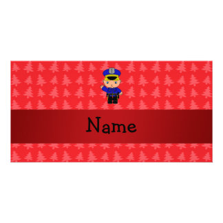 Personalized name policeman red christmas trees photo card