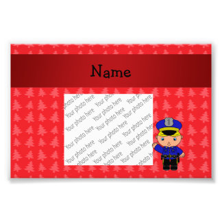 Personalized name policeman red christmas trees photo print