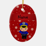 Personalized name policeman red snowflakes christmas ornament