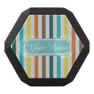 Personalized Name Pretty Chic Stripes Pattern Black Bluetooth Speaker