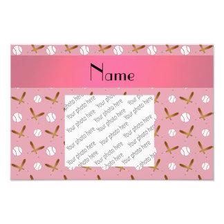 Personalized name pretty pink baseball photo print