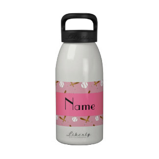 Personalized name pretty pink baseball water bottles