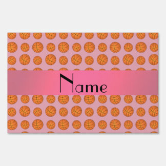Personalized name pretty pink basketballs sign