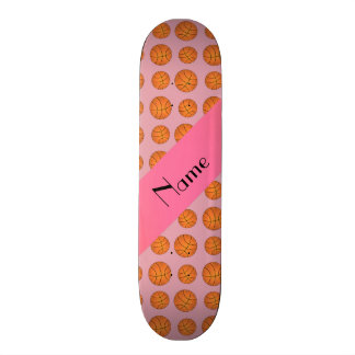 Personalized name pretty pink basketballs skate board deck