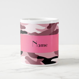 Personalized name pretty pink camouflage large coffee mug