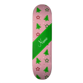Personalized name pretty pink christmas stars skate board deck