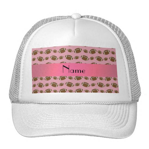 Personalized name pretty pink footballs trucker hats
