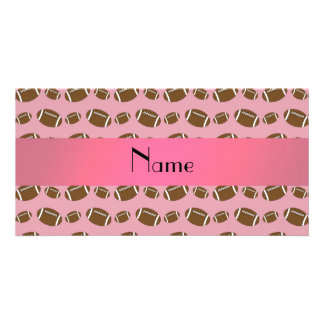 Personalized name pretty pink footballs photo greeting card