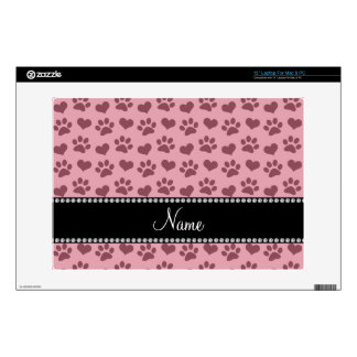 "Personalized name pretty pink hearts and paw print 13"" laptop decal"